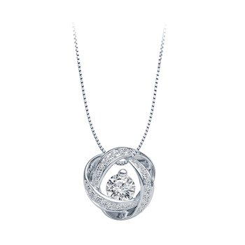 14kt White Gold Time and Eternity 89 Facet .30ct Pendant