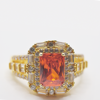 Sterling Silver Gold Plated Cubic Zirconia/Orange Cubic Zirconia Ring