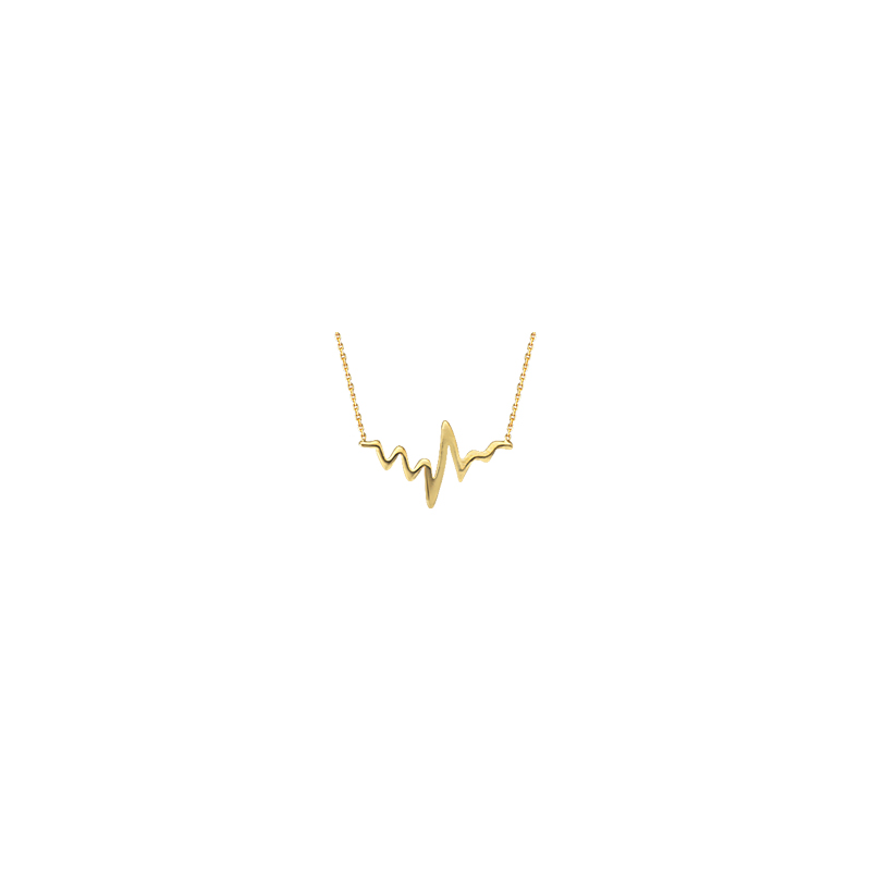 Best Sellers Sterling Silver Yellow Gold Plated Heartbeat Necklace