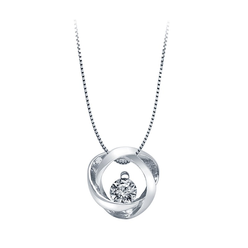 Best Sellers Sterling Silver Time and Eternity 89 Facet .09ct Pendant