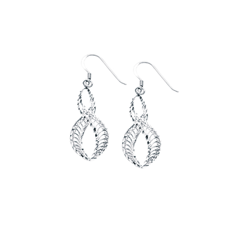 Sterling Silver/Rhodium Plated Filigree Twisted Drop Earrings