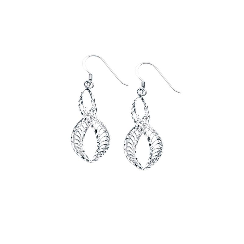 Best Sellers Sterling Silver/Rhodium Plated Filigree Twisted Drop Earrings