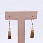 Estate Sterling Silver Agate Drop Earrings