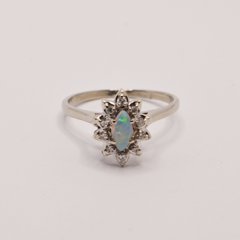 10KT White Gold Opal and Diamond Ring