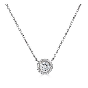 14KT White Gold 'Halo' 0.50cts Diamond Necklace