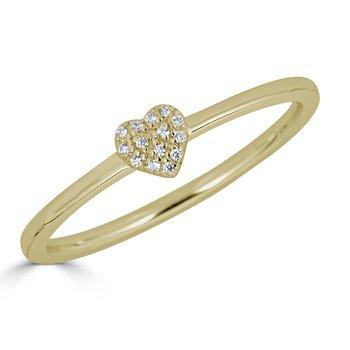 14KT White Gold 0.04tw Diamond Heart Ring