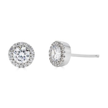 14KT White Gold 'Halo' 1.00cts Diamond Stud Earrings