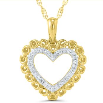 Lady's 10kt Yellow Gold Diamond Heart Pendant & Chain