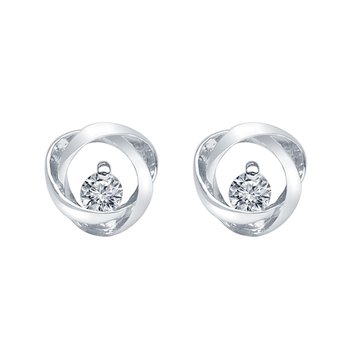 Sterling Silver Time and Eternity 89 Facet Diamond 0.09ct Earrings