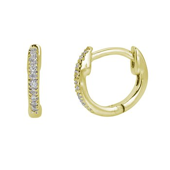 14KT White Gold 0.04tw Diamond Mini Hoop Huggies