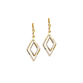 10KT Yellow and White Gold Marquise CZ Drop Earrings