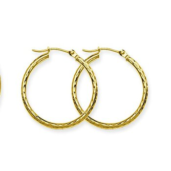 10kt Yellow Gold Diamond Cut Hoop Earring