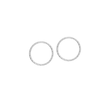 10KT White Gold Circle Stud Earrings