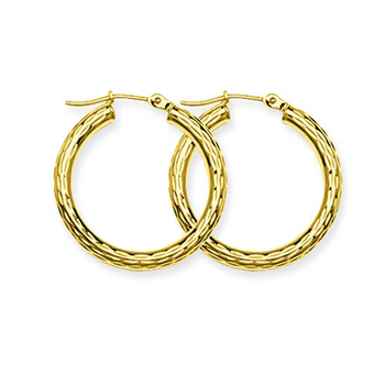 10KT Yellow Gold Diamond Cut Round Tube Hoop Earrings