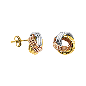 10KT Tri-Gold Love Knot Earrings