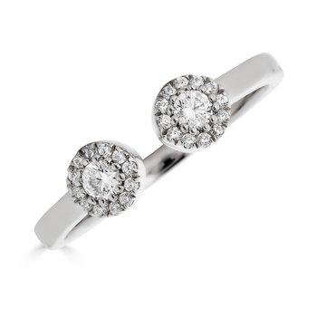 14KT White Gold 0.22tw Diamond, 'Halo' Open Ring