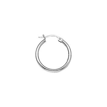 Sterling Silver 20mm Round Tube Hoop Earrings
