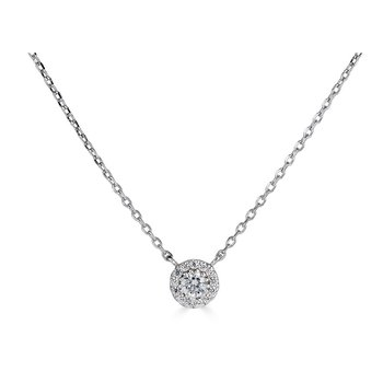 14KT White Gold 'Halo' 0.15cts Diamond Necklace
