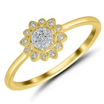 Lady's Flower 10k Yellow Gold Diamond Ring