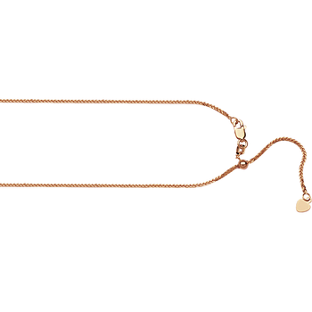 """22"""" 14KT Rose Gold Adjustable Wheat Chain"""