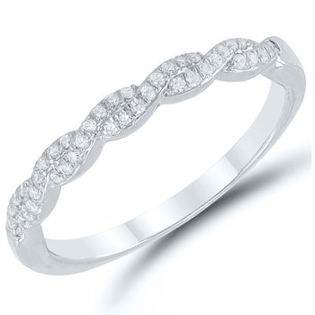 Lady's 10k White Gold Diamond Band