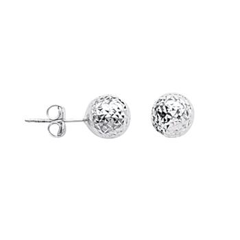 Sterling Silver 8mm Diamond Cut Ball Stud Earrings