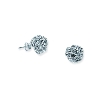 Sterling Silver/Rhodium Plated Rope Love Knot Stud Earrings