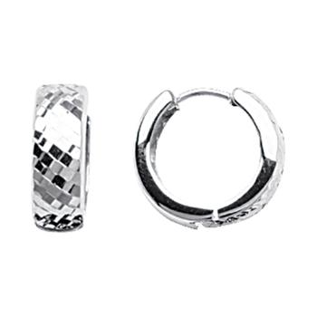 Sterling Silver Diamond Cut Huggies