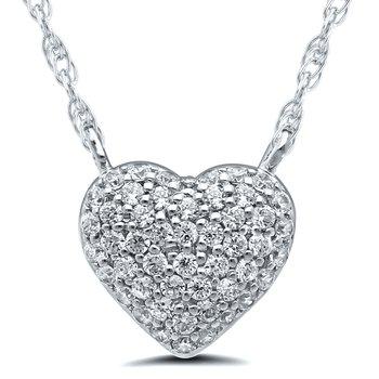 Lady's Heart 10kt White Gold Diamond Necklace