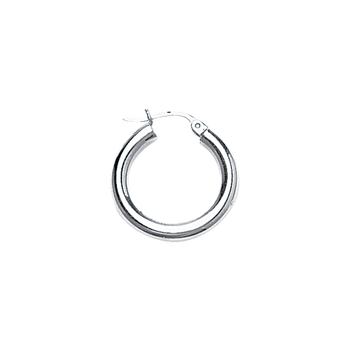 Sterling Silver 20mm Plain Hoop Earrings