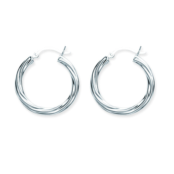 Sterling Silver 25mm Twist Hoop Earrings