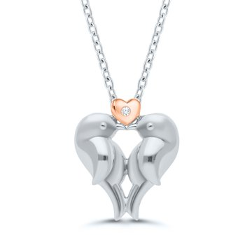 Lady's Sterling Silver/Rose Gold Plated Lovebirds Diamond Necklace