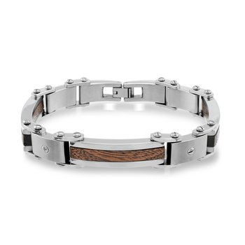 Stainless Steel Wood Inlay Bracelet