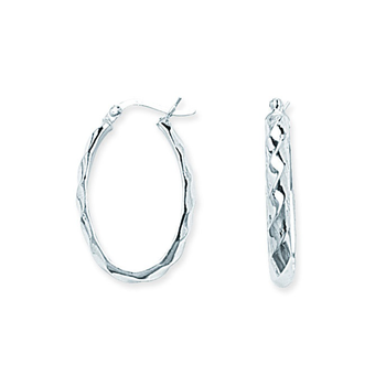 Sterling Silver Oval Patterned Hoop Earrings