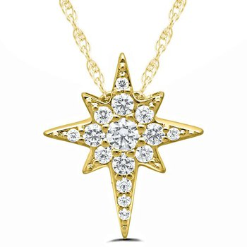 10kt Yellow Gold and Diamond Star Pendant