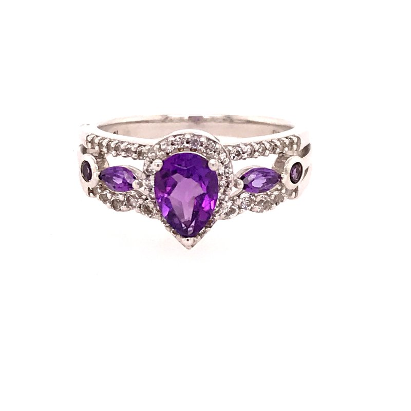 Colored Stone Fashion Amethyst Ring