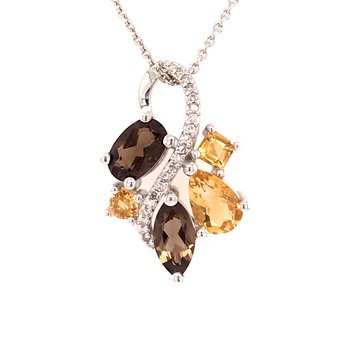 Smokey Quartz and Citrine Pendant