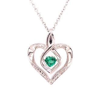 Created Emerald & Diamond Pendant