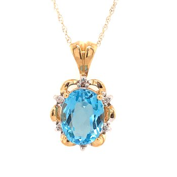 Blue Topaz and Diamond Pendant