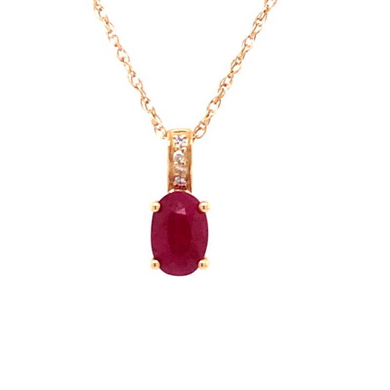 Colored Stone Fashion Ruby & Diamond Pendant
