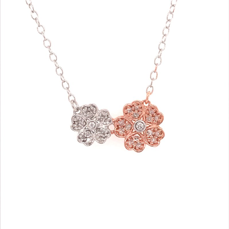 Diamond Fashion Double Flower Pendant