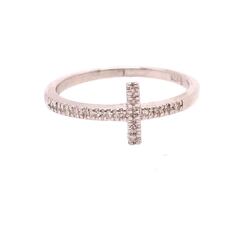 Diamond Fashion Sideways Cross Ring