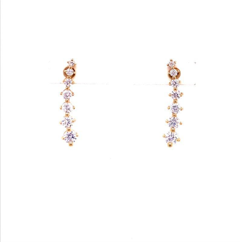 Colored Stone Fashion Ear Climber Earrings
