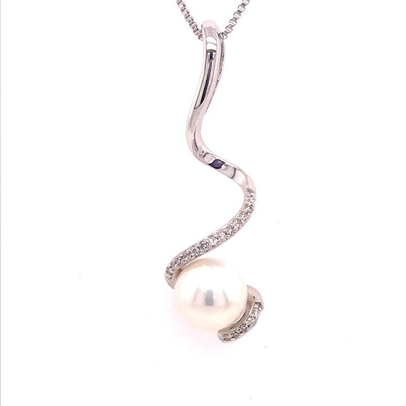 Fashion Jewelry Swirl Pearl and Diamond Pendant