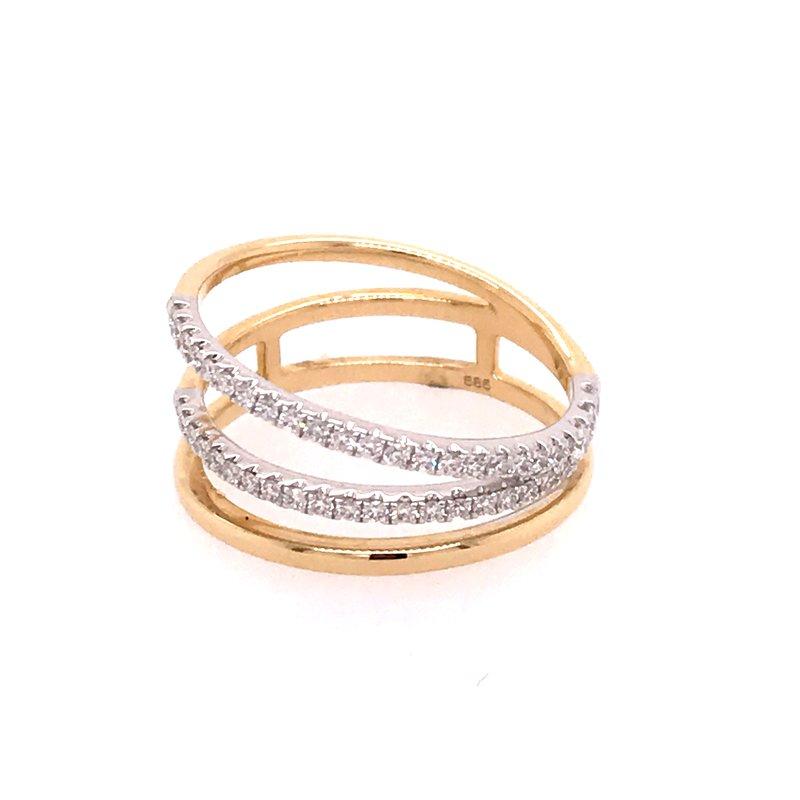 Diamond Fashion Three Row Ring