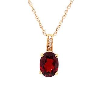 Garnet & Diamonds Pendant