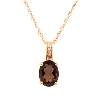 Smoky Quartz & Diamond Pendant