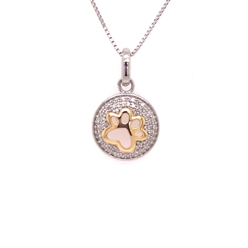 Diamond Fashion Paw Print Pendant
