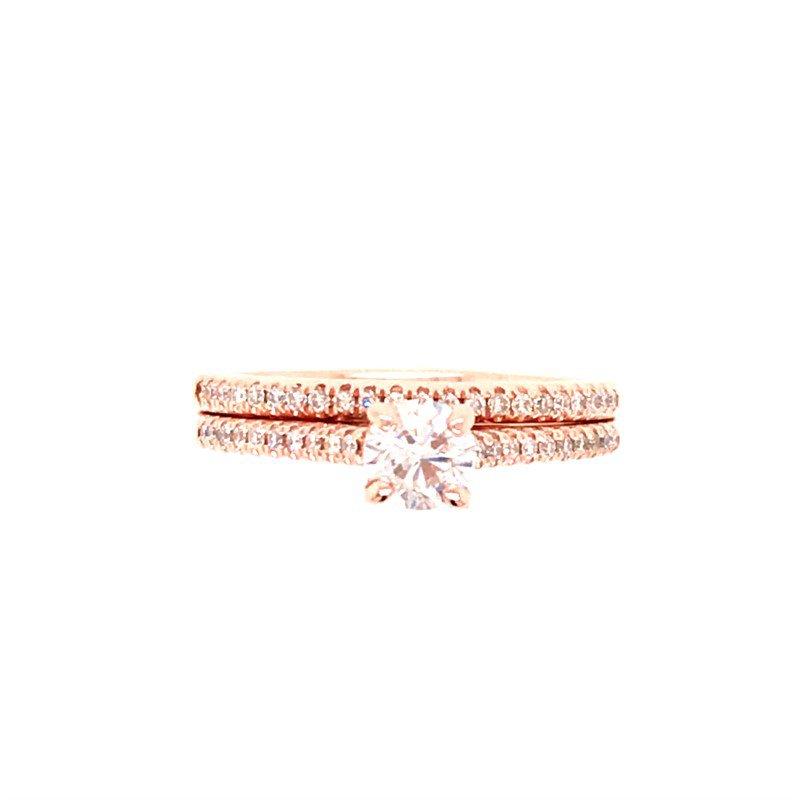 Estate Round Diamond Solitaire Wedding Set