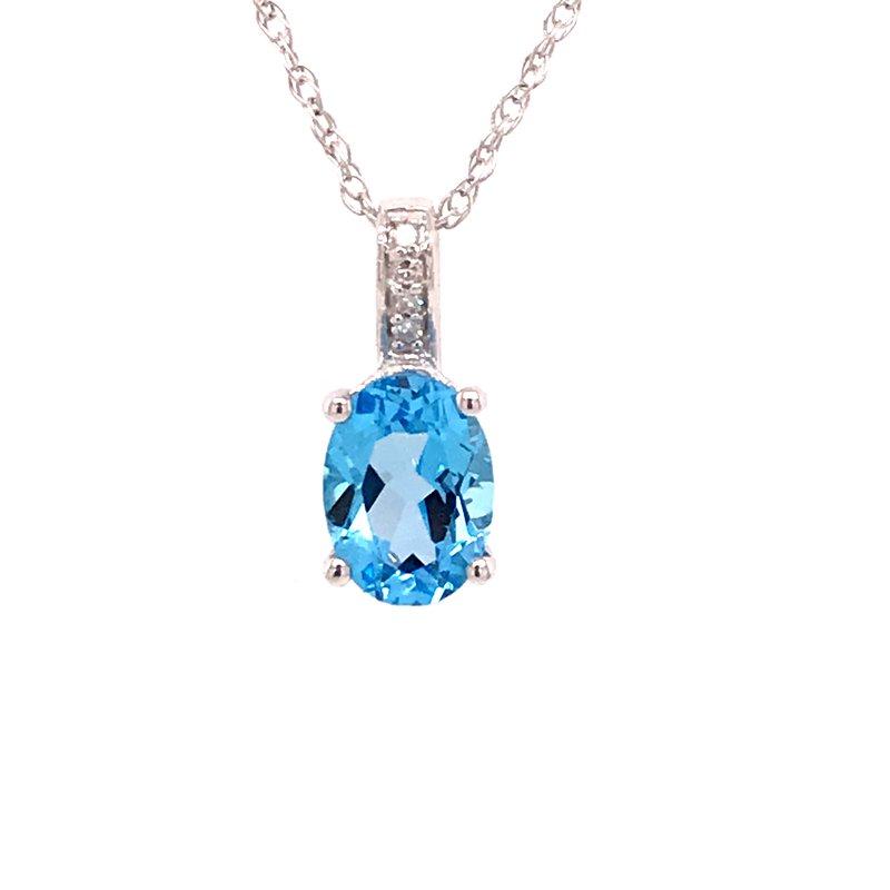 Colored Stone Fashion Swiss Blue Topaz & Diamond Pendant